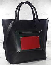501-1 Натуральная кожа, Сумка-тоут женская, объемная черная комбинировання красная зеленая трапеция, фото 3