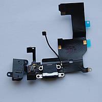 Шлейф Apple iPhone 5 коннектора зарядки / коннектора наушников с компонентами черный