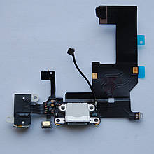Шлейф Apple iPhone 5 коннектора зарядки, коннектора навушників, з компонентами, з мікрофоном White