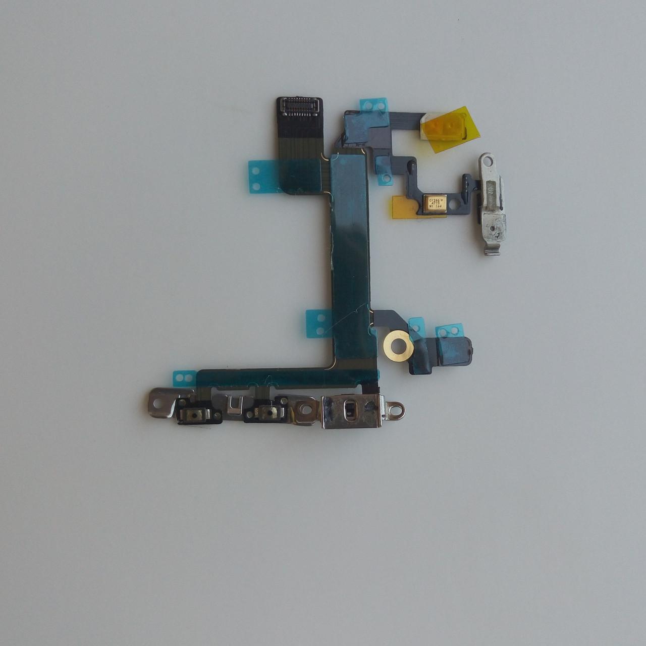 Шлейф Apple iphone 5S кнопки включення, бічних клавіш, з компонентами, з мікрофоном