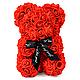 3D Мишка из латекстных роз с лентой в подарочной упаковке | Красный 25 см, фото 3