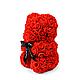 3D Мишка из латекстных роз с лентой в подарочной упаковке | Красный 25 см, фото 4