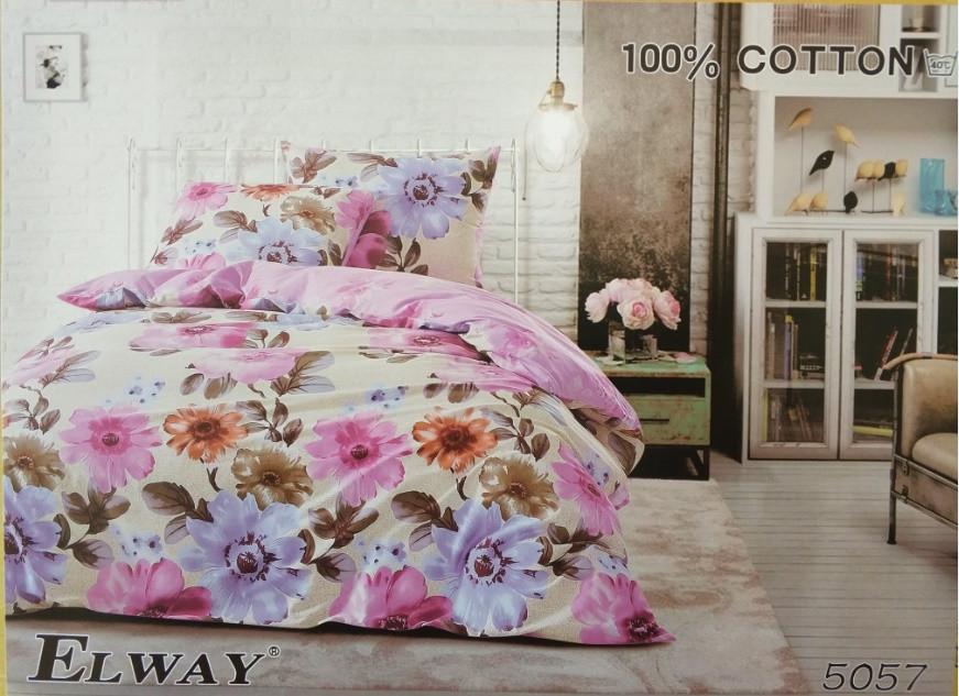 Сатиновое постельное белье семейное ELWAY 5057
