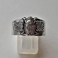 Серебряное кольцо мужское Жук Скарабей талисман амулет