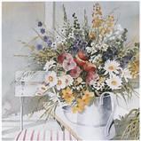 Салфетка декупажная Букет полевых цветов в лейке 496, фото 2