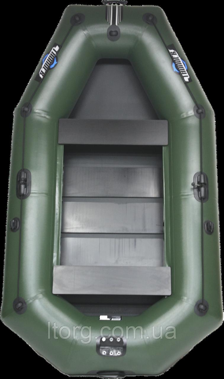 Надувная лодка Thunder Т-249LS (PS) (Поворотные уключины, слань коврик, подвижные сиденья, баллон 38,ПВХ 1100), фото 1