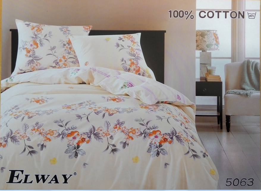 Сатиновое постельное белье семейное ELWAY 5063