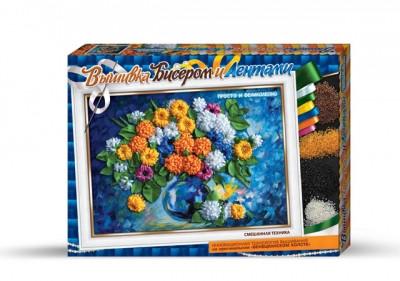 Набор для вышивания лентами и бисером - Хризантемы Данко тойс