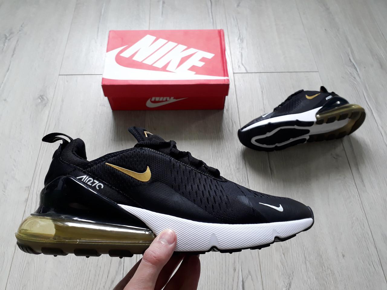 8bd6f456182a46 Мужские кроссовки Nike Air Max 270 Black/Gold редкая золотая расцветка,  много цветов в
