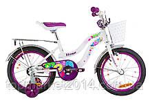"""Дитячий велосипед FORMULA FLOWER 16"""" з кошиком (біло-фіолетовий)"""