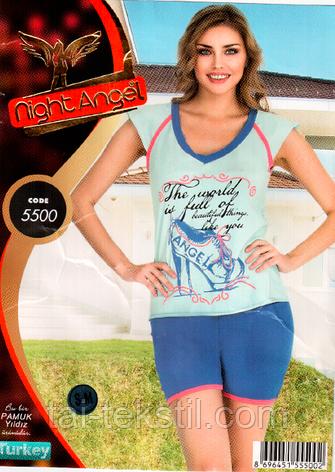 Пижама футболка с шортами качество лайкра Night Аngel № 5500, фото 2