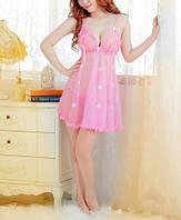 Оригинальный эротический комплект, светло- розовый прозрачный пеньюар, двойка, откровенное белье, кружево.