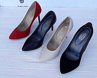 Женские туфли на шпильке кожа замша Ko0092