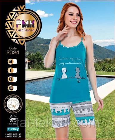 Пижама женская майка и шорты хлопок Night Angel № 2024, фото 2
