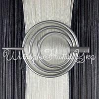 Заколка для штор нитей Круг №4 Серебро матовый, фото 1