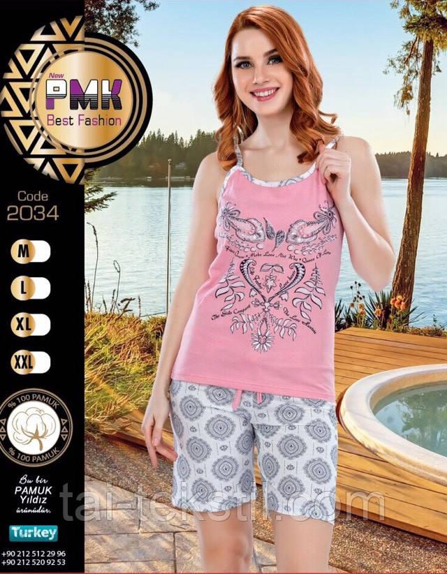 Пижама женская майка и шорты хлопок Night Angel № 2034