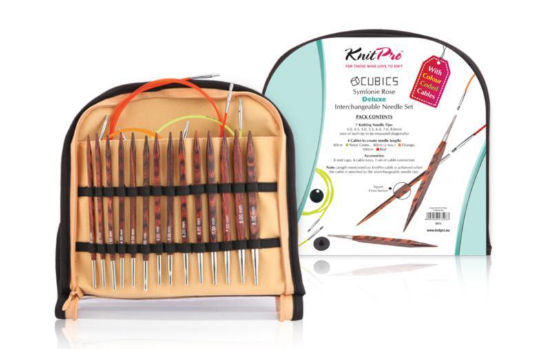 25613 Набор деревянных съемных спиц Deluxe Cubics Symfonie-Rose KnitPro