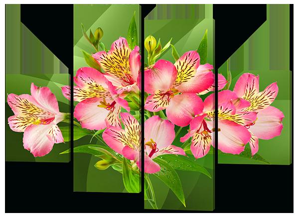 Модульная картина Interno Эко кожа Розовые альстромерии 126x93см (A537М)