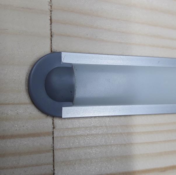 Светодиодный led профиль врезной ЛПВ12 анод. Комплект 1 мп (профиль+рассеиватель матовый+ заглушка)
