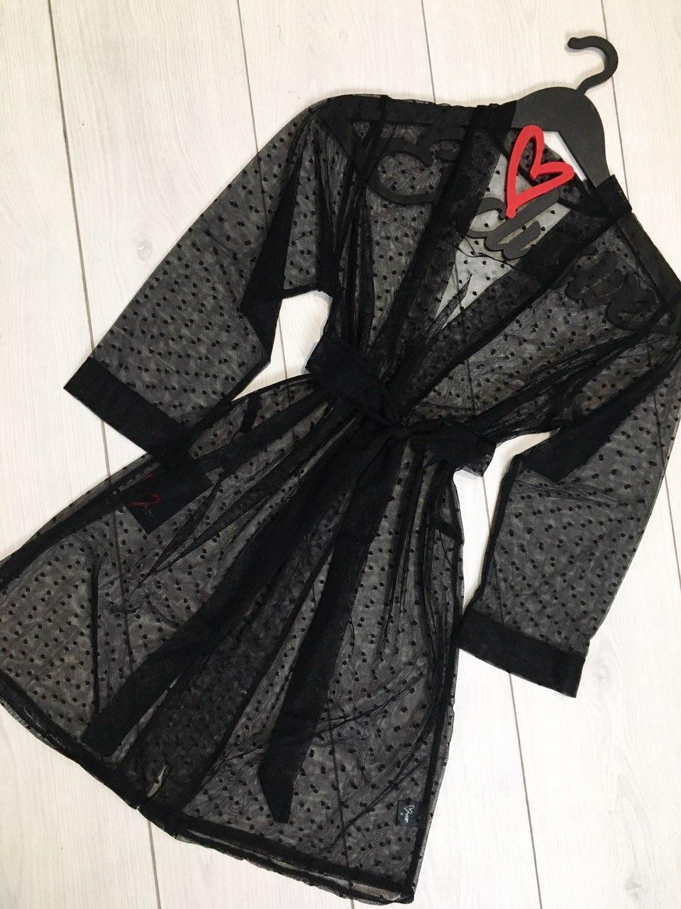 Черный прозрачный халат из микросетки  086, красивые халаты.