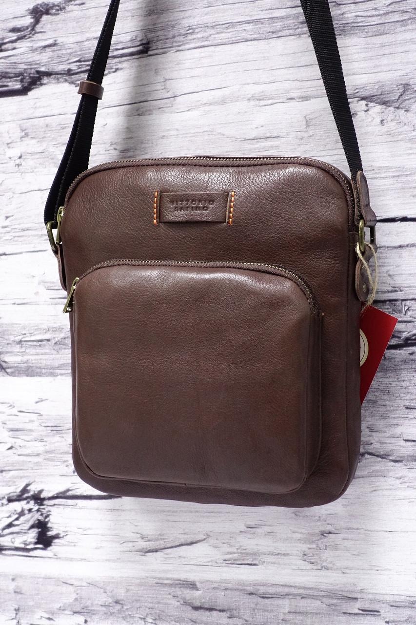 7f4c7114ffb5 Мужская сумка из натуральной кожи Vittorio Safino 022 коричневый -  Интернет-магазин