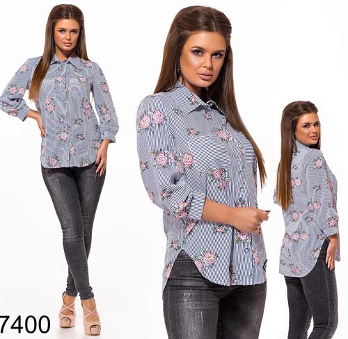 Модная рубашка в полоску рукав три четверти (синий) 827400