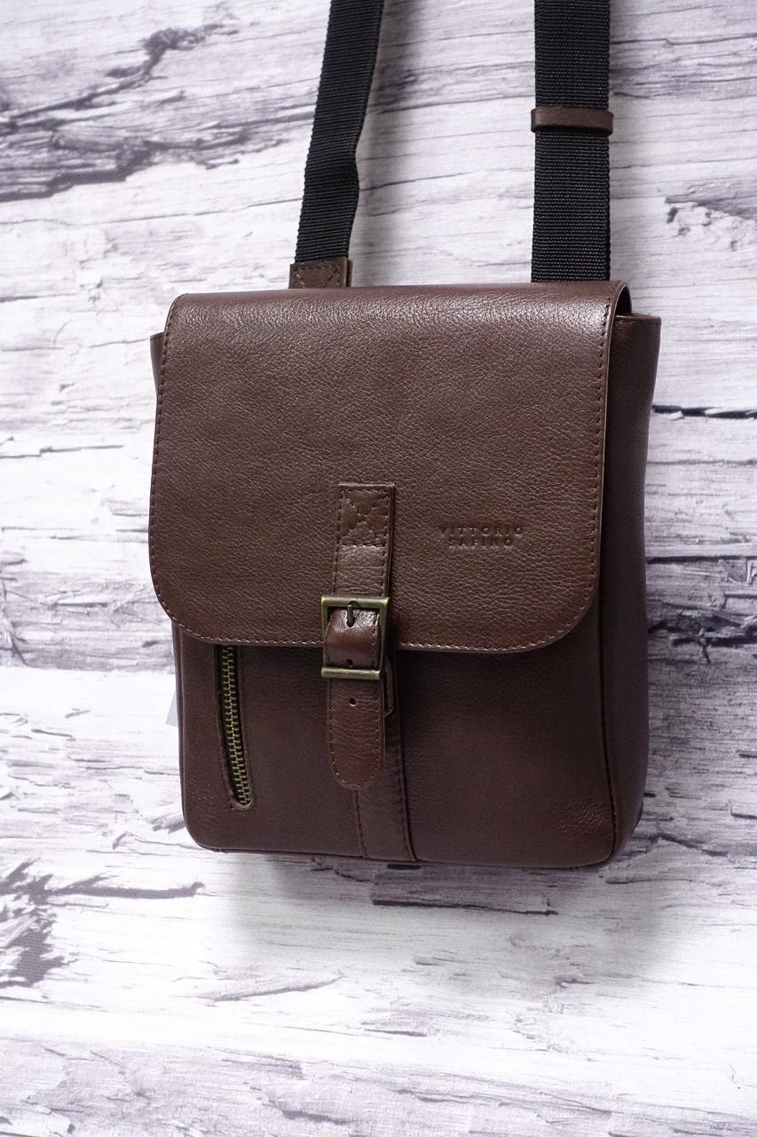 Мужская сумка из натуральной кожи Vittorio Safino 001 коричневый