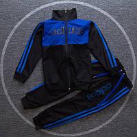Спортивный детский костюм в стиле Adidas черно-синий для мальчика на рост 110-140 см