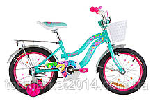 """Дитячий велосипед FORMULA FLOWER 16"""" з кошиком (бірюзовий)"""
