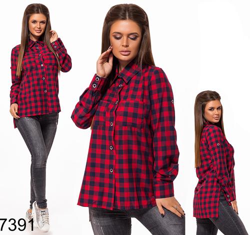 3a506263f634061 Стильная женская рубашка в клетку (красный) 827391 купить недорого в ...