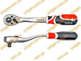 Трещотка с изогнутой ручкой и шарниром YATO, M=3/8 (код YT-0731).
