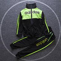 Спортивный детский костюм в стиле Adidas черно-зеленый для мальчика на рост 110-140 см
