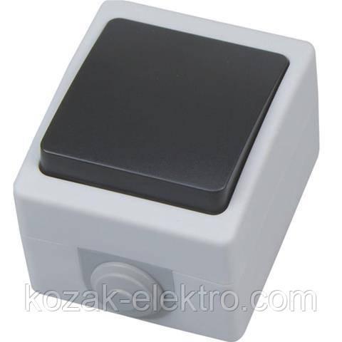 Вимикач 1 клавішний прохідний ATOM IP54