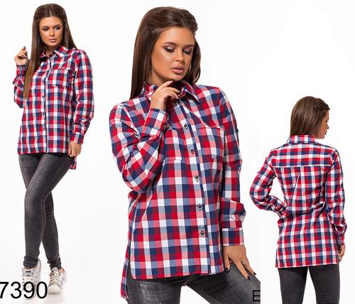 Женская рубашка на пуговицах (синий) 827390