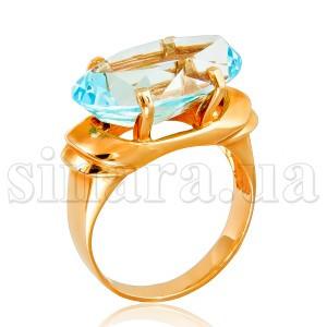 Золотое кольцо с голубым топазом 6882