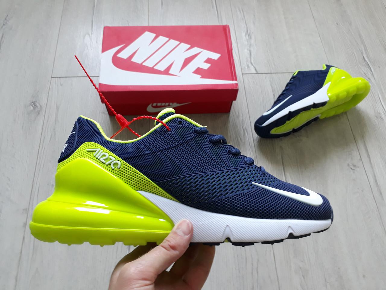 946f2bc2 Мужские кроссовки Nike Air Max 270 Flyknit Blue/Lime топ реплика, много  цветов в