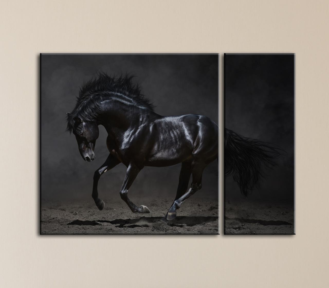 """Модульная картина """"Черный конь"""""""