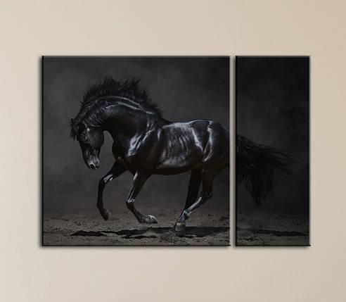 """Модульная картина """"Черный конь"""", фото 2"""