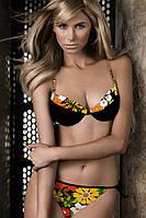 Купальник раздельный женский бикини Samanta Flower Бюст push up A032 и плавки бикини B0225 Черно-оранжевый