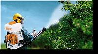 Опрыскивание плодовых деревьев.