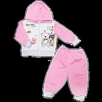 """Детский трикотажный костюмчик (теплый): кофта на """"молнии"""" с капюшоном, штаны, начес, р.74, 80, 86, Турция"""