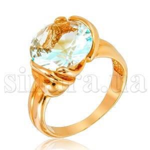Золотое кольцо с голубым топазом 6916
