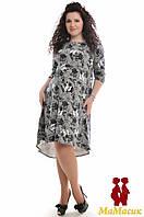 Платье чёрно-белое для беременных (батал)