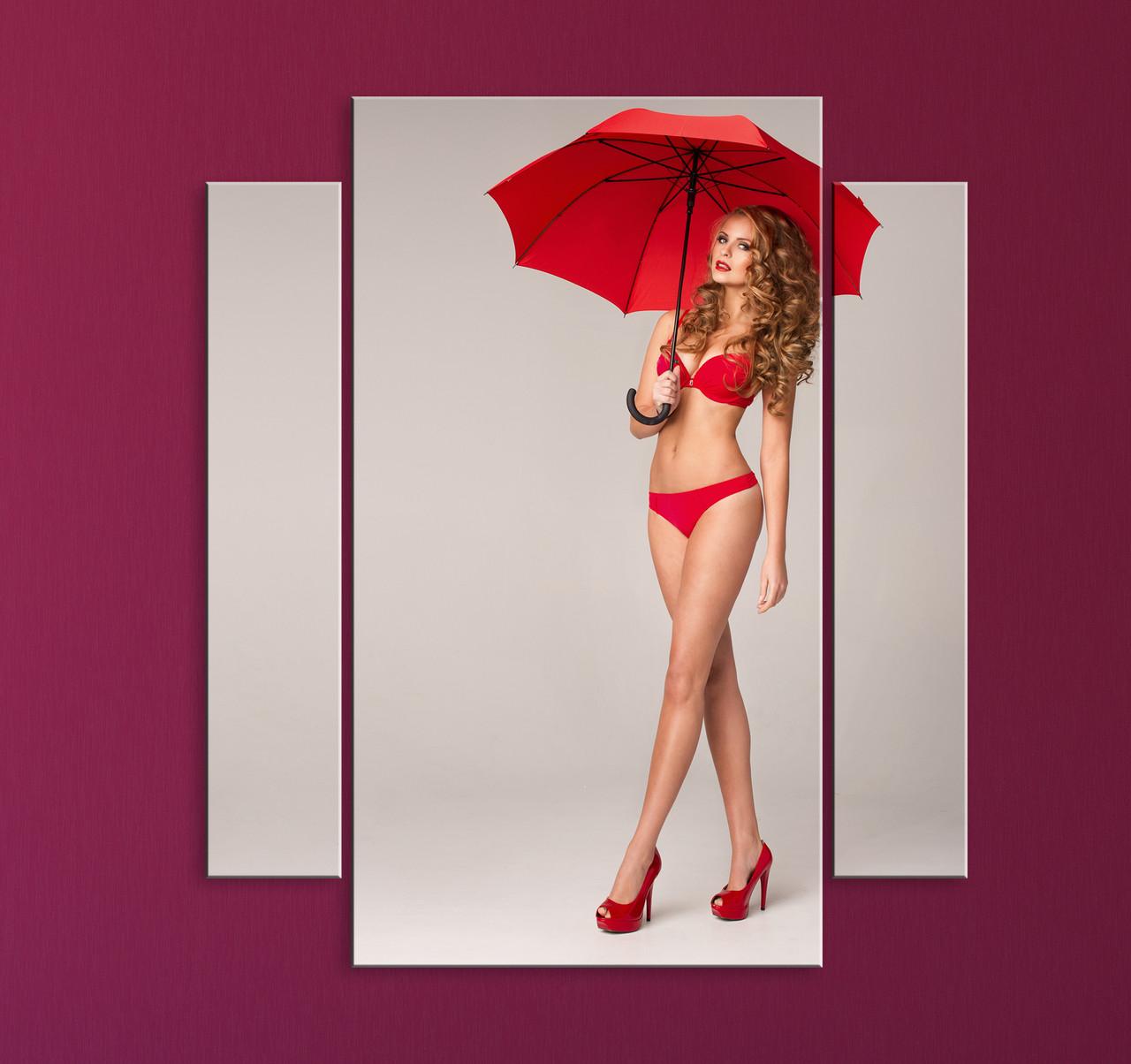 """Модульная картина """"Девушка с зонтом"""""""