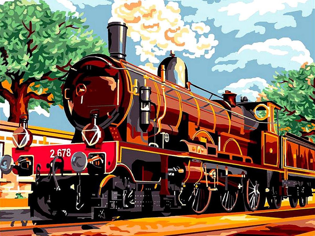 Картина по номерам Поезд из прошлого 40 х 50 см (BK-GEX6113)