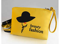 Косметичка с вышивкой Beauty fashion Желтая