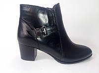 Женские кожаные демисезонные ботинки на каблуке ТМ Камея