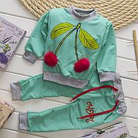Детский спортивный костюм Вишенки бирюза для девочки на 80-115 см