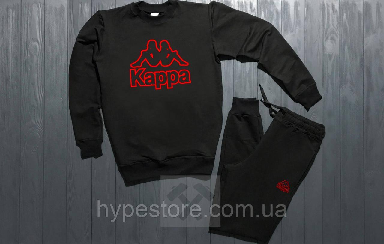Мужской весенний спортивный костюм, чоловічий костюм Kappa (красный лого), Реплика