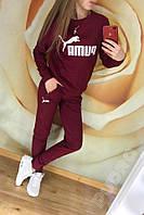Женский спортивный костюм весна-осень Puma (42-44, 44-46, 46-48, 48-50) (цвет бордо) СП, фото 1